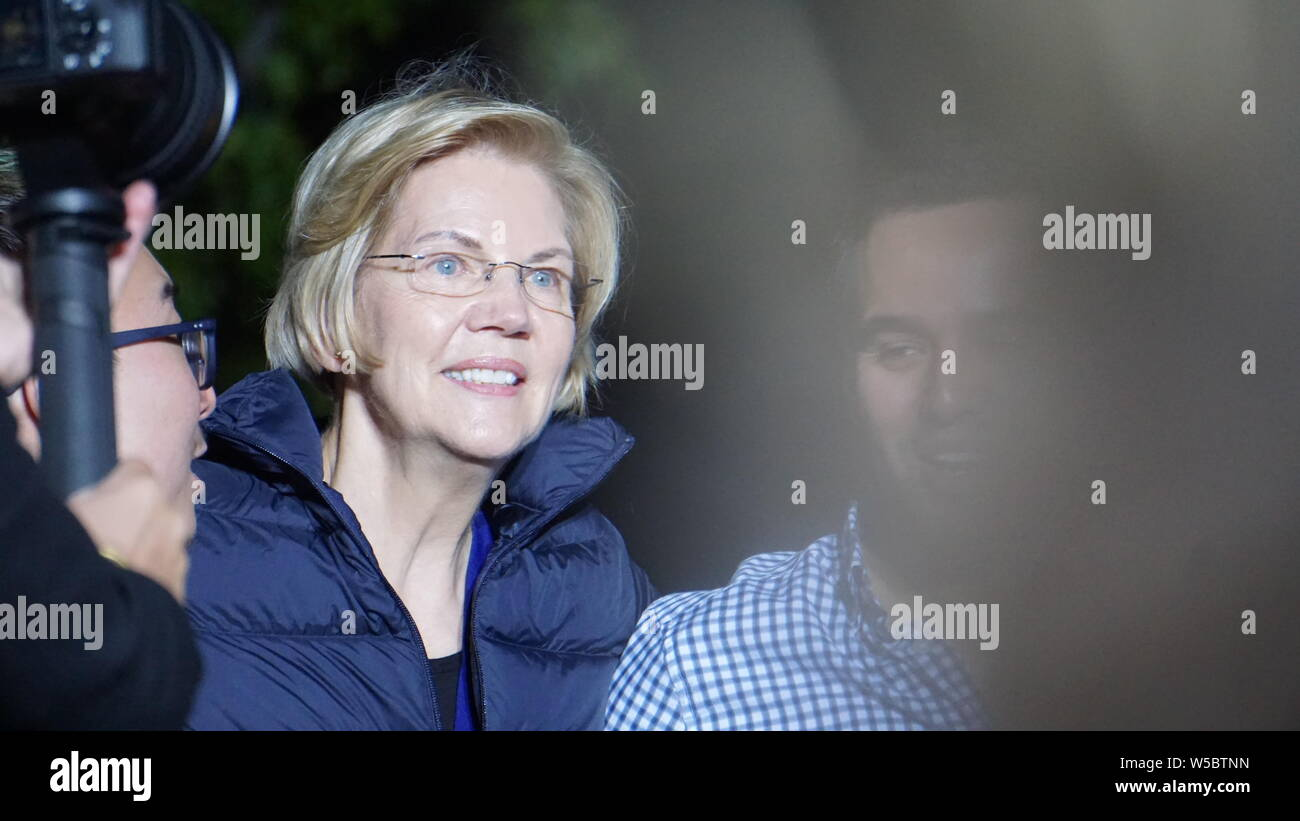 Elizabeth Warren for United States President, outdoor rally, Oakland, California on May 31, 2019.  Close up of Elizabeth Warren with her fans. Stock Photo
