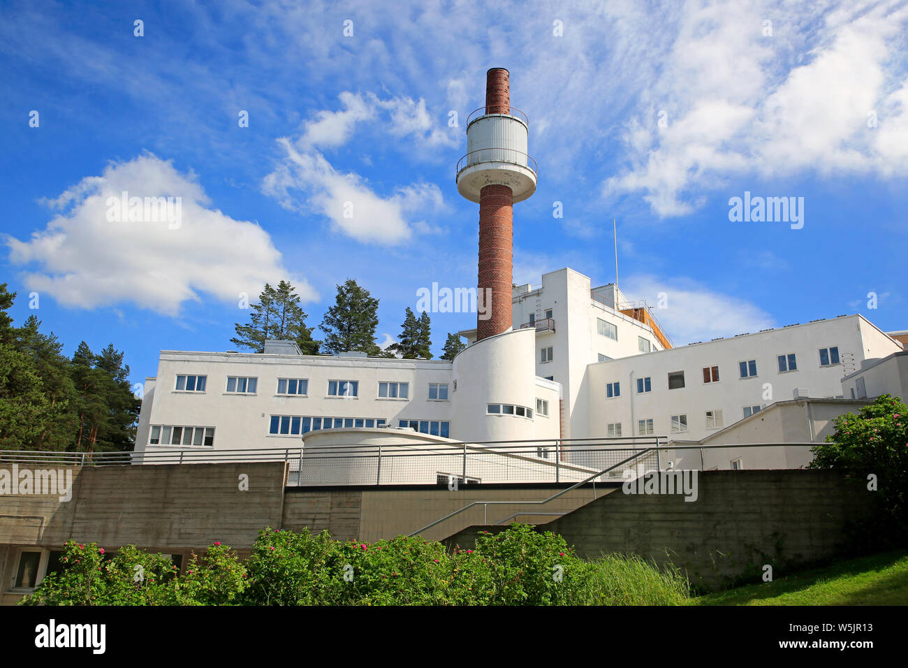 Paimio Sanatorium, designed by Finnish architect Alvar Aalto and completed 1933, on a sunny day of summer. Paimio, Finland. June 21, 2019. Stock Photo