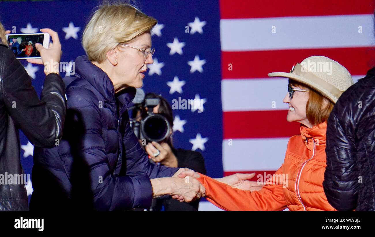 Elizabeth Warren for United States President rally, Oakland, California on May 31, 2019.  Close up of Elizabeth Warren shaking hands with a fan. Stock Photo