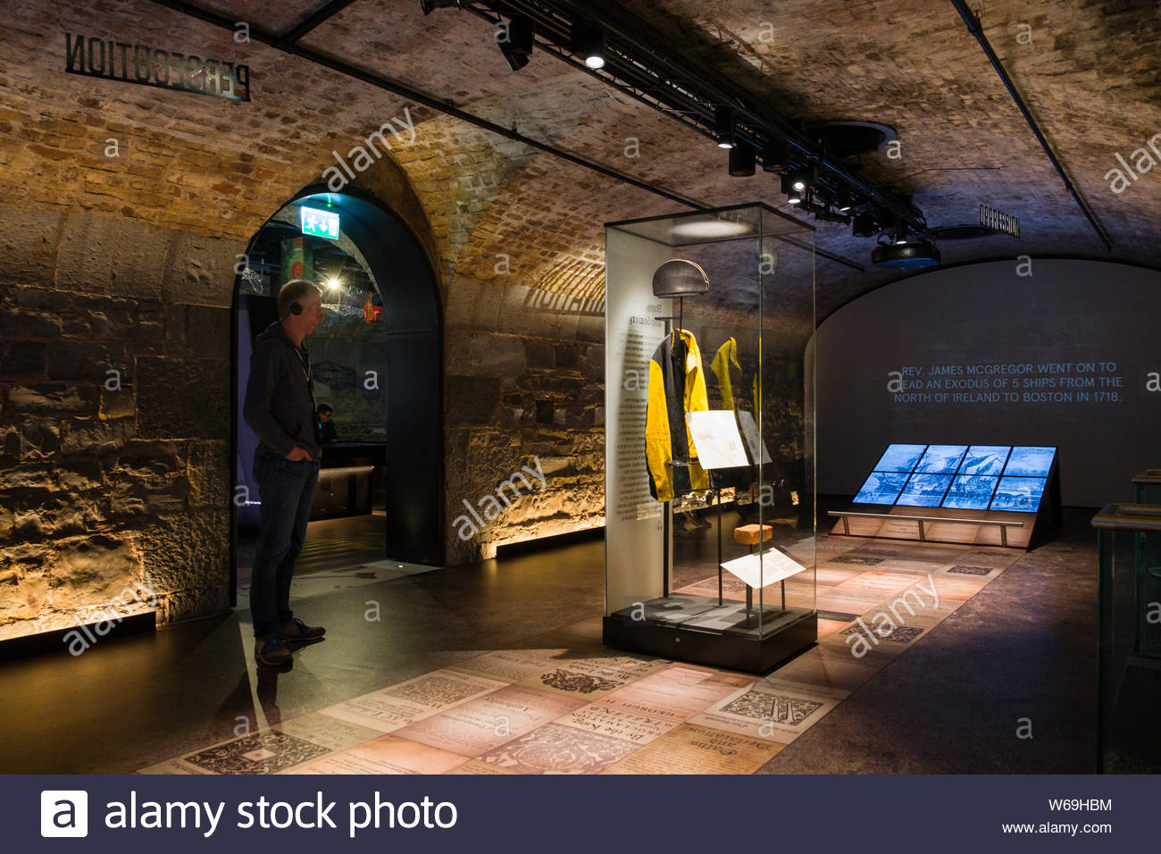 Exhibit on criminal justice of the Irish people under British rule inside the EPIC The Irish Emigration Museum, The Chq Building, Custom House Quay, N Stock Photo
