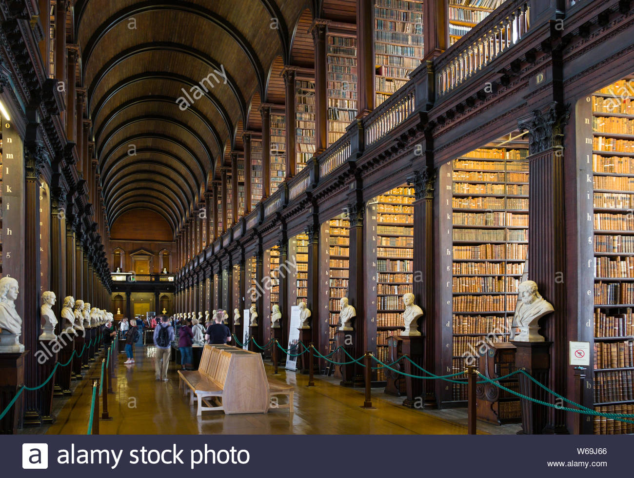Long Room inside the Old Library, Trinity College, Dublin, Leinster, Ireland Stock Photo