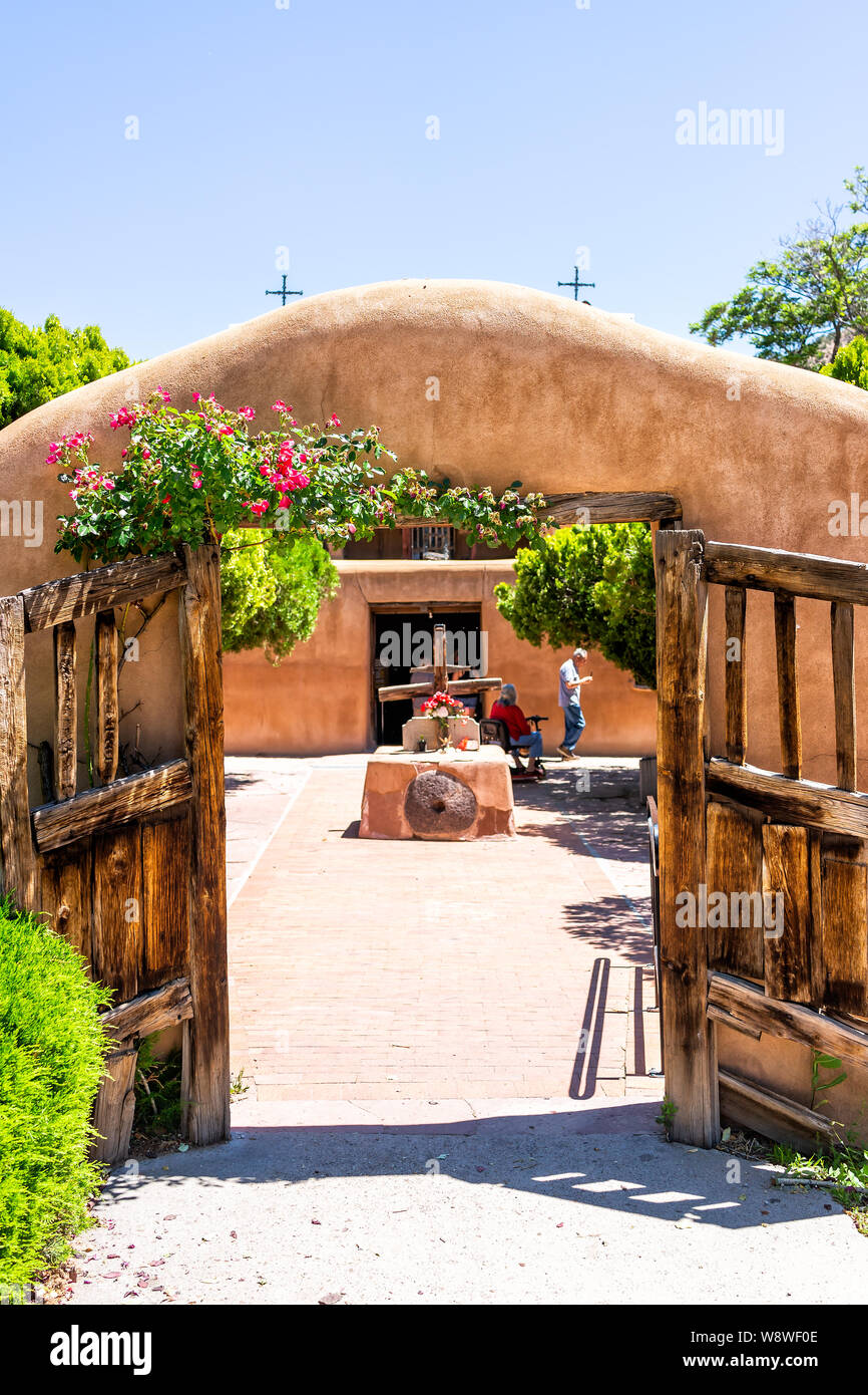 Chimayo, USA - June 19, 2019: Famous El Santuario de Chimayo sanctuary church in the United States with entrance Stock Photo