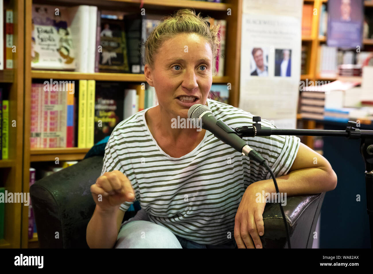 Oxford, UK. August 17th 2019. Homesick - Writer and Singer Songwriter Catrina Davies in conversation with Writer and Environmentalist Activist George Monbiot at Blackwells Bookshop. Catrina spoke of her life in Cornwall living in a tin shed and how it came about, the UK housing crisis and her new book, Homesick. Her story has been featured in Vogue, Red, Daily Express, Surfers Path and other publications. Pictured Catrina Davies. Credit: Stephen Bell/Alamy Stock Photo