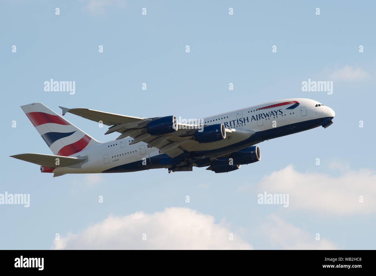 London, UK. 23rd August 2019. BA planes take off from Heathrow Airport shortly after the British Airline Pilots Association (BALPA) announced it has given notice to British Airways that it will call on its members to strike on 9th, 10th and 27th September 2019. Credit: Peter Manning/Alamy Live News Stock Photo
