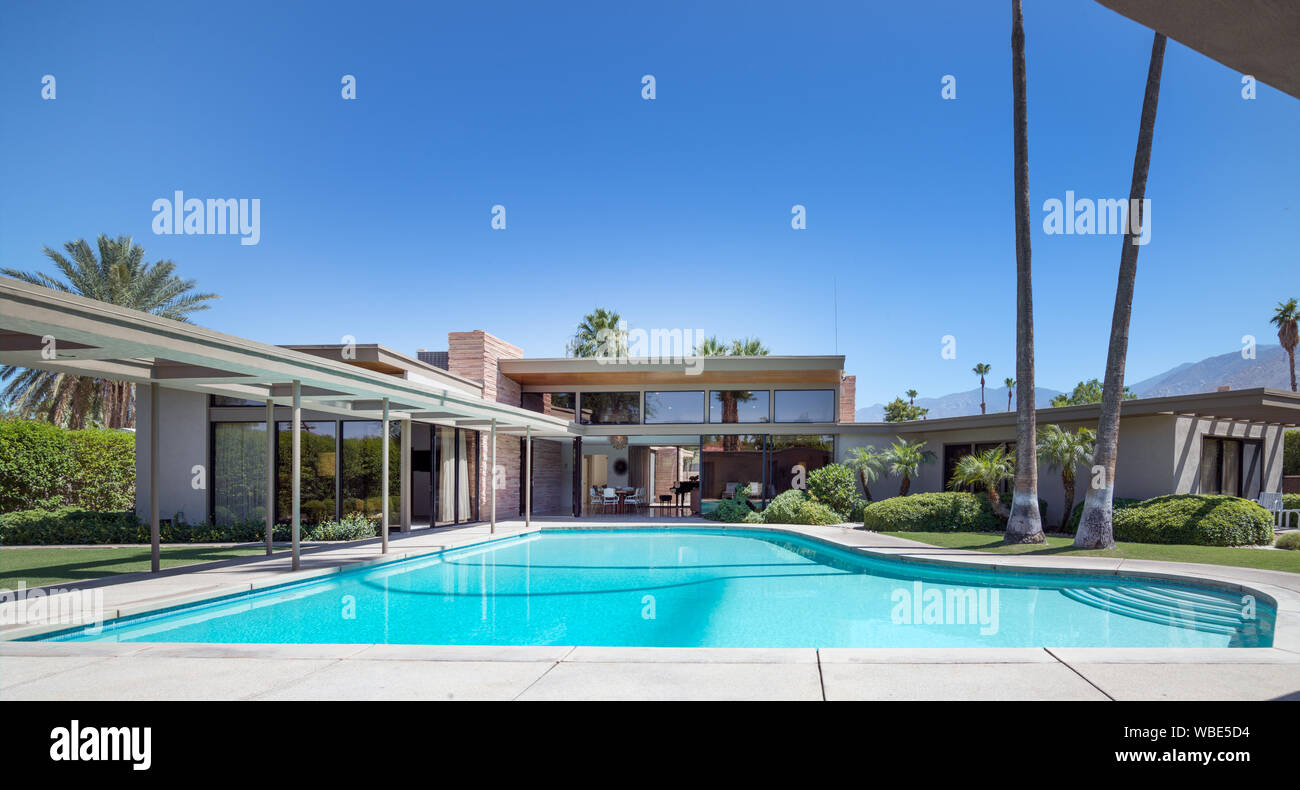 Frank Sinatra's Twin Palms Estate, a spectacular example of mid-century architecture in the heart of Palm Springs, California Stock Photo