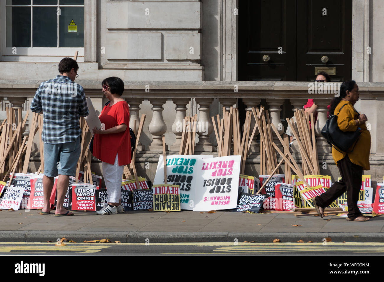Anti Boris Johnson demonstration in front of Downing Street No 10, 31st Aug 2019, London UK Stock Photo