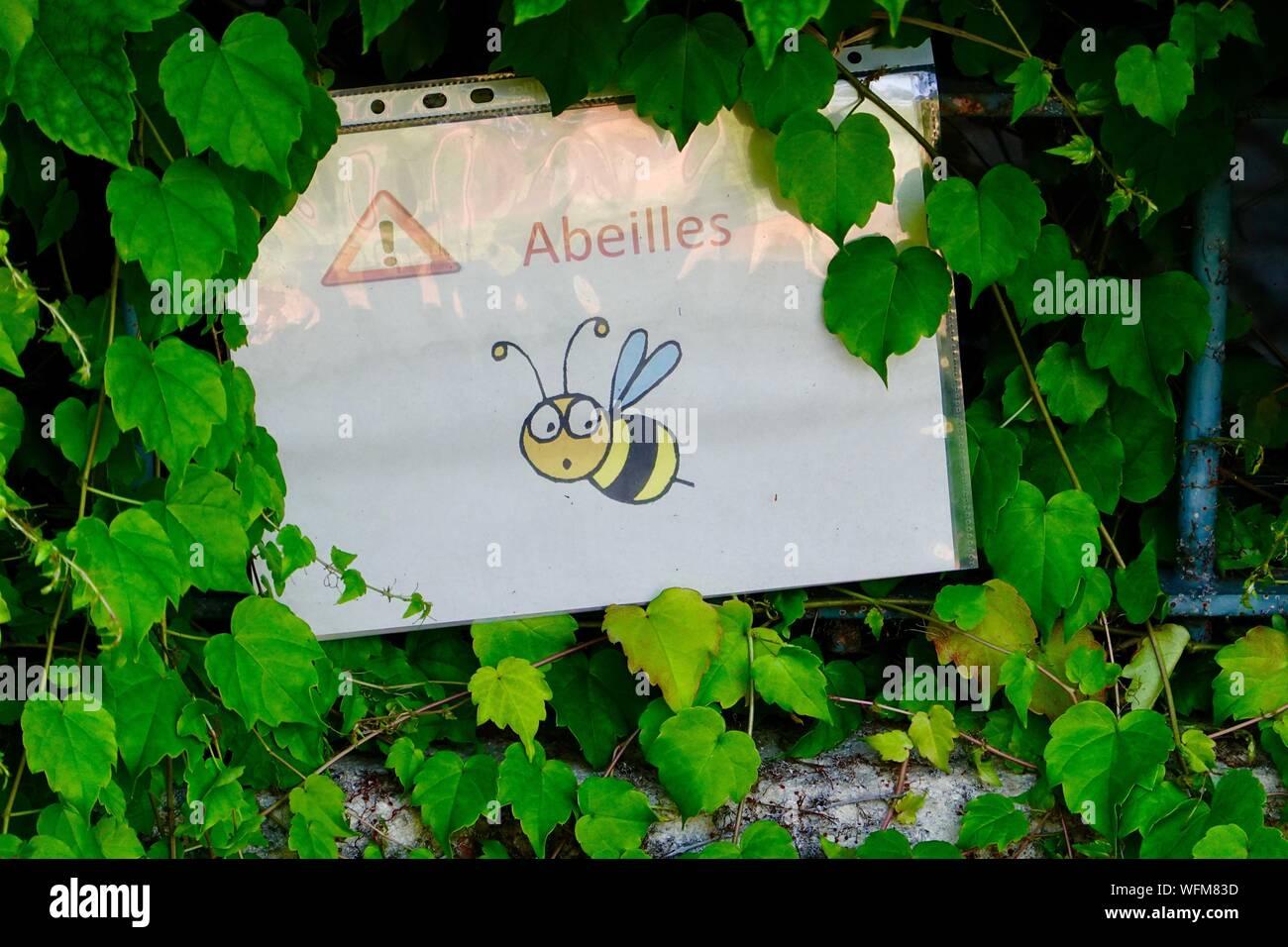 bees-abeilles-hand-made-sign-stuck-insid