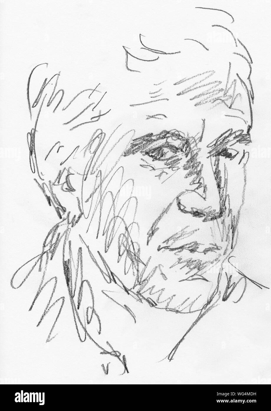 Jeffrey Epstein pencil drawing Stock Photo