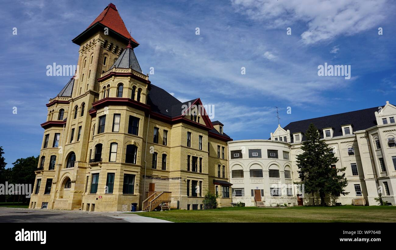Kirkbride Building, Fergus Falls State Hospital, former mental asylum, now empty, USA National Register of Historic Places, Fergus Falls, Minnesota. Stock Photo