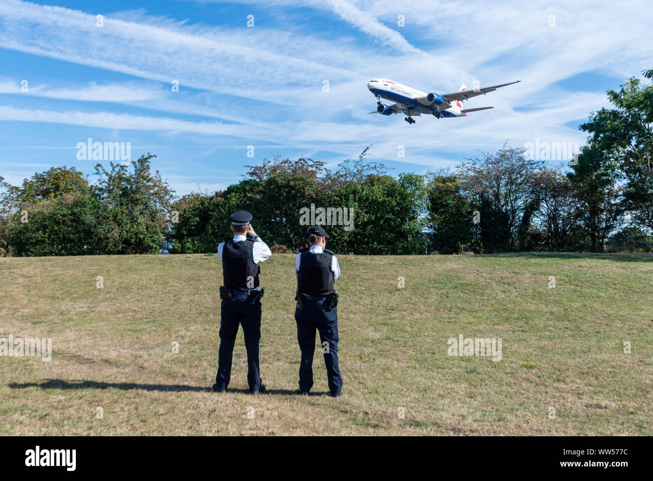 a-group-calling-themselves-heathrow-pause-action-have-warned-that-they-plan-to-fly-drones-within-the-restricted-areas-around-london-heathrow-airport-with-the-aim-of-disrupting-flights-the-protesters-feel-that-despite-declaring-a-climate-emergency-the-governments-approval-of-a-third-runway-at-heathrow-negates-that-response-the-proposed-action-involves-numbers-of-people-flying-small-toy-sized-drones-within-the-5km-exclusion-zone-at-head-height-police-are-patrolling-the-area-and-thus-far-flight-operations-have-continued-WW577C.jpg