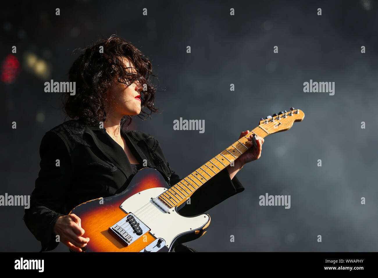 Birmingham, UK. 14th Sep, 2019. Singer and guitarist Anna Calvi appears on stage Stock Photo
