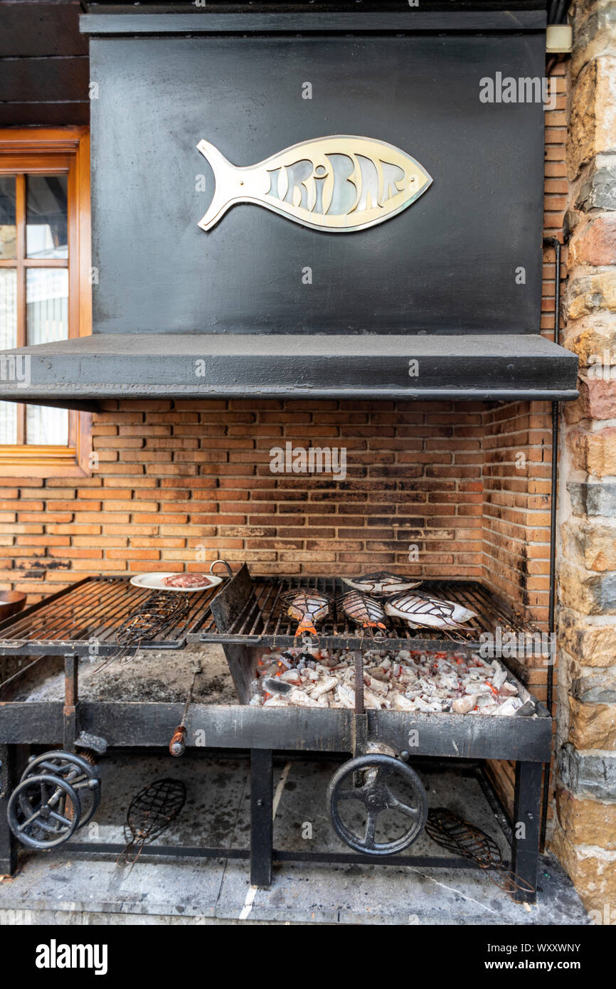 Fish in the grill in Asador Iribar restaurant in Getaria, Gipuzkoa,  Basque Country, Spain Stock Photo