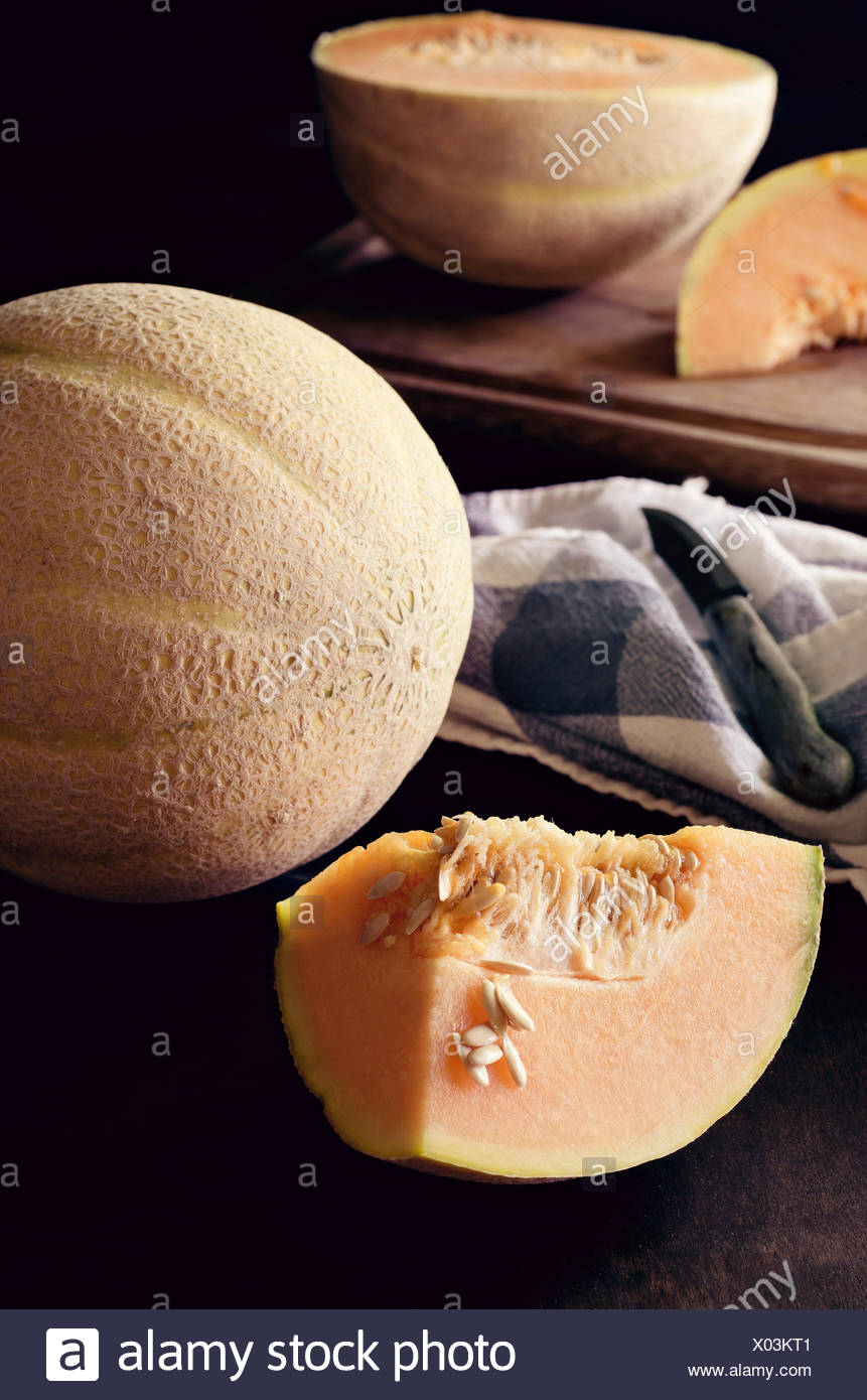 Canteloupe melon - Stock Image