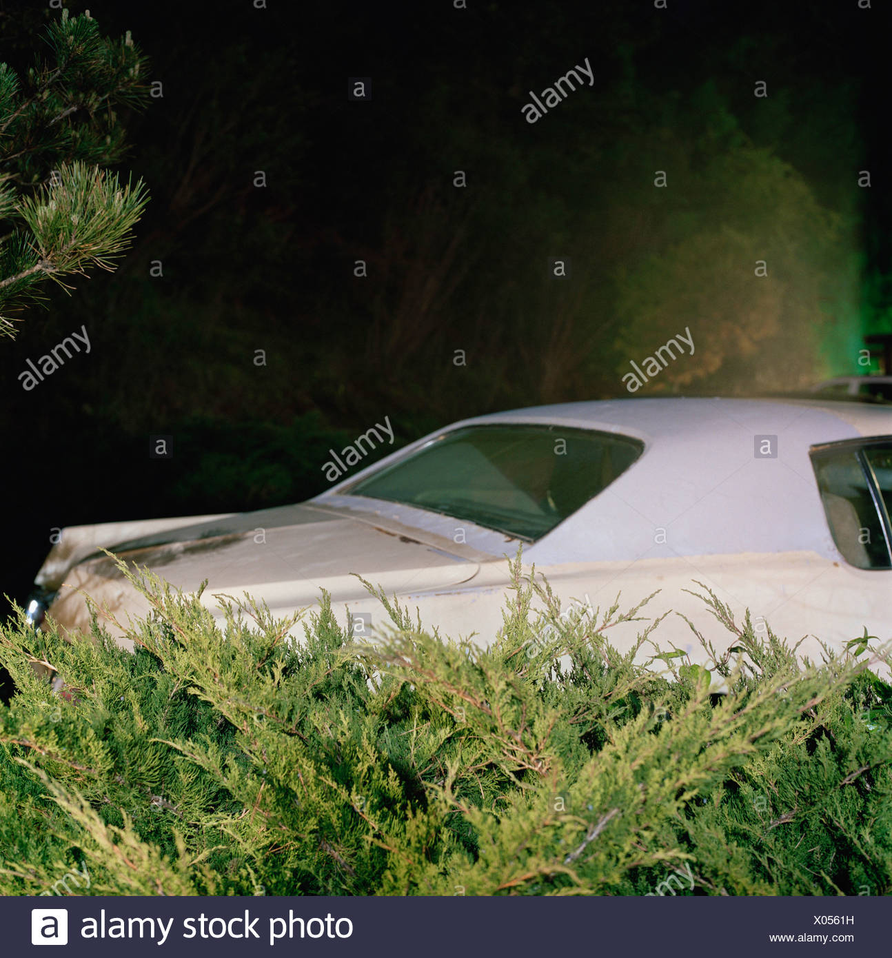 Car Parked In A Driveway At Night Stock Photo 275480397 Alamy