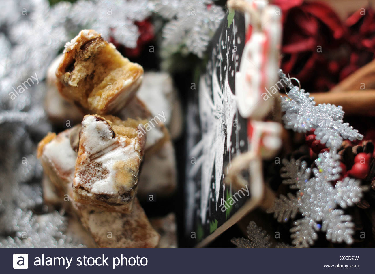Stollen cake with dried fruits - Stock Image
