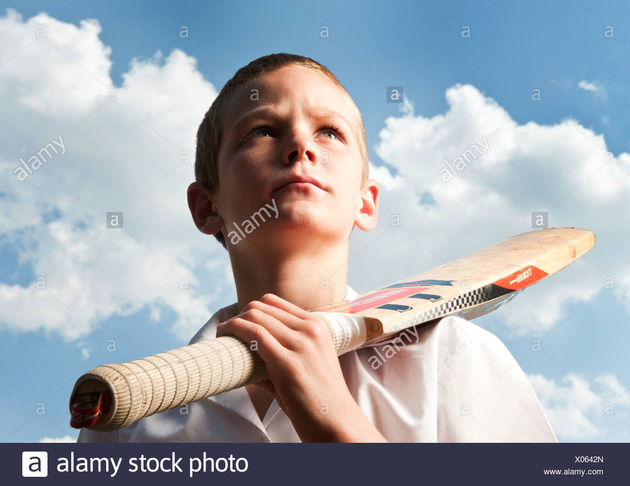 Boy holding cricket bat outdoors, Johannesburg, Gauteng Province, South Africa - Stock Image