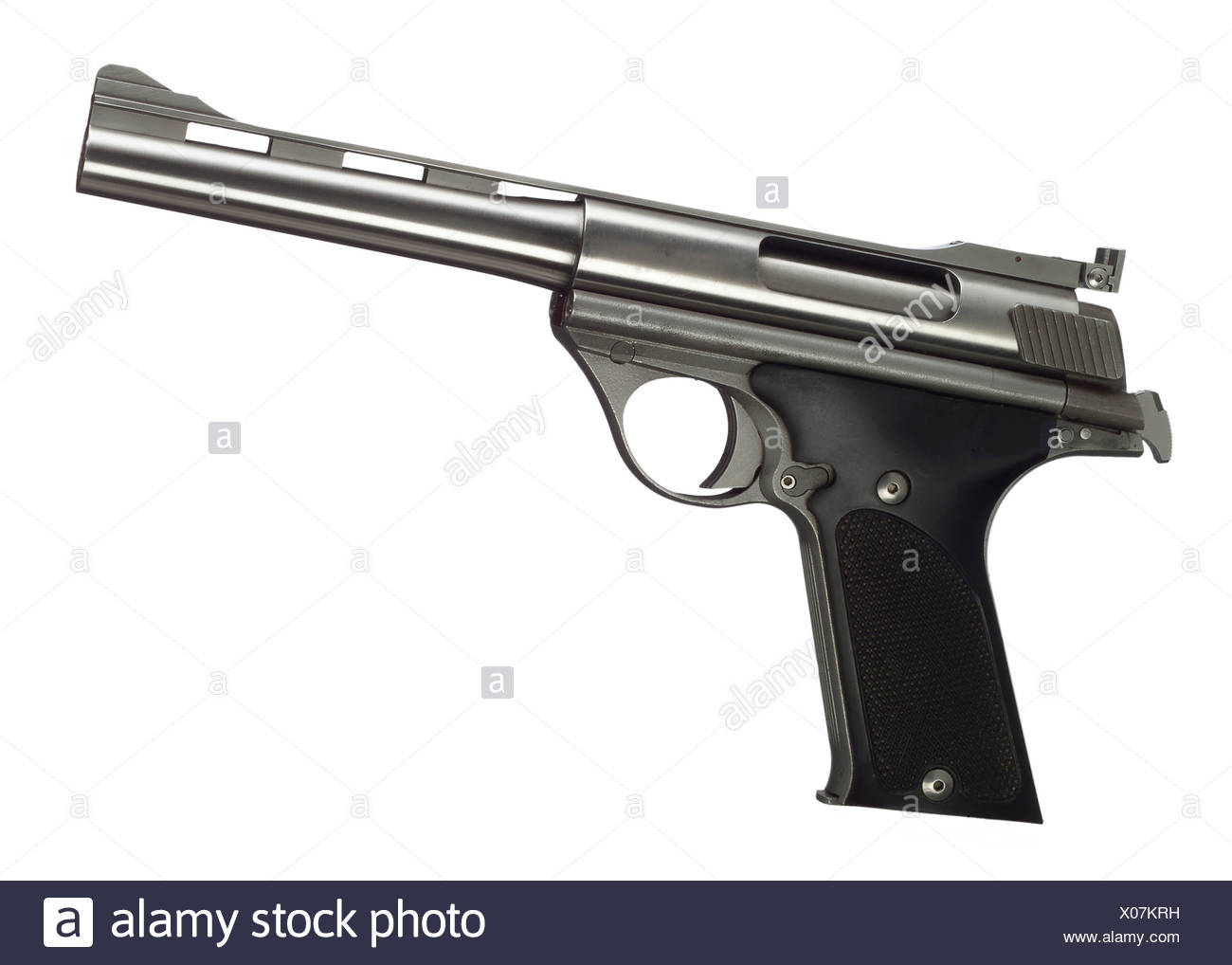 close up of 44 magnum revolver against white background stock photo