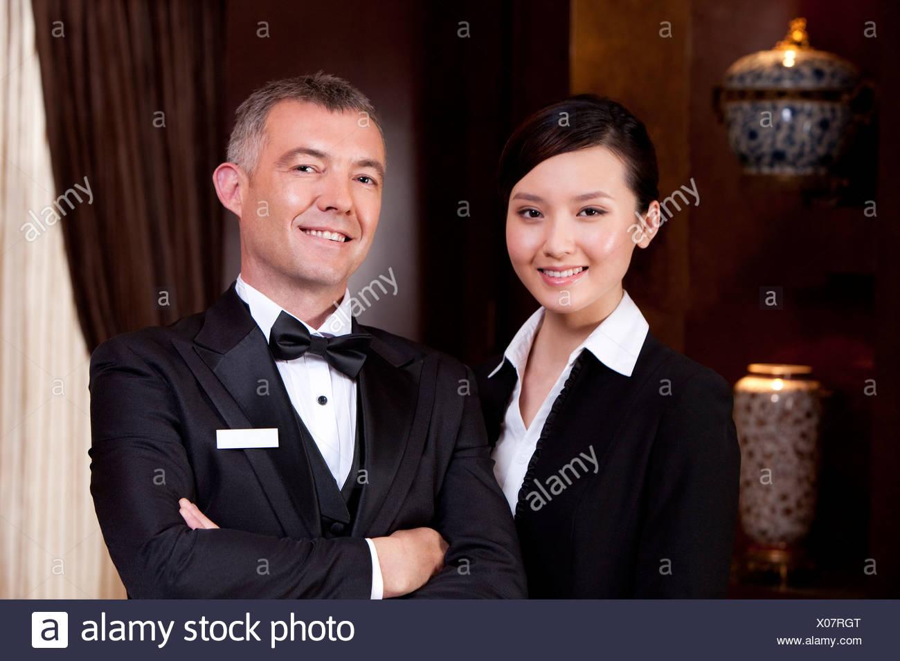 Portrait of professional service staff - Stock Image