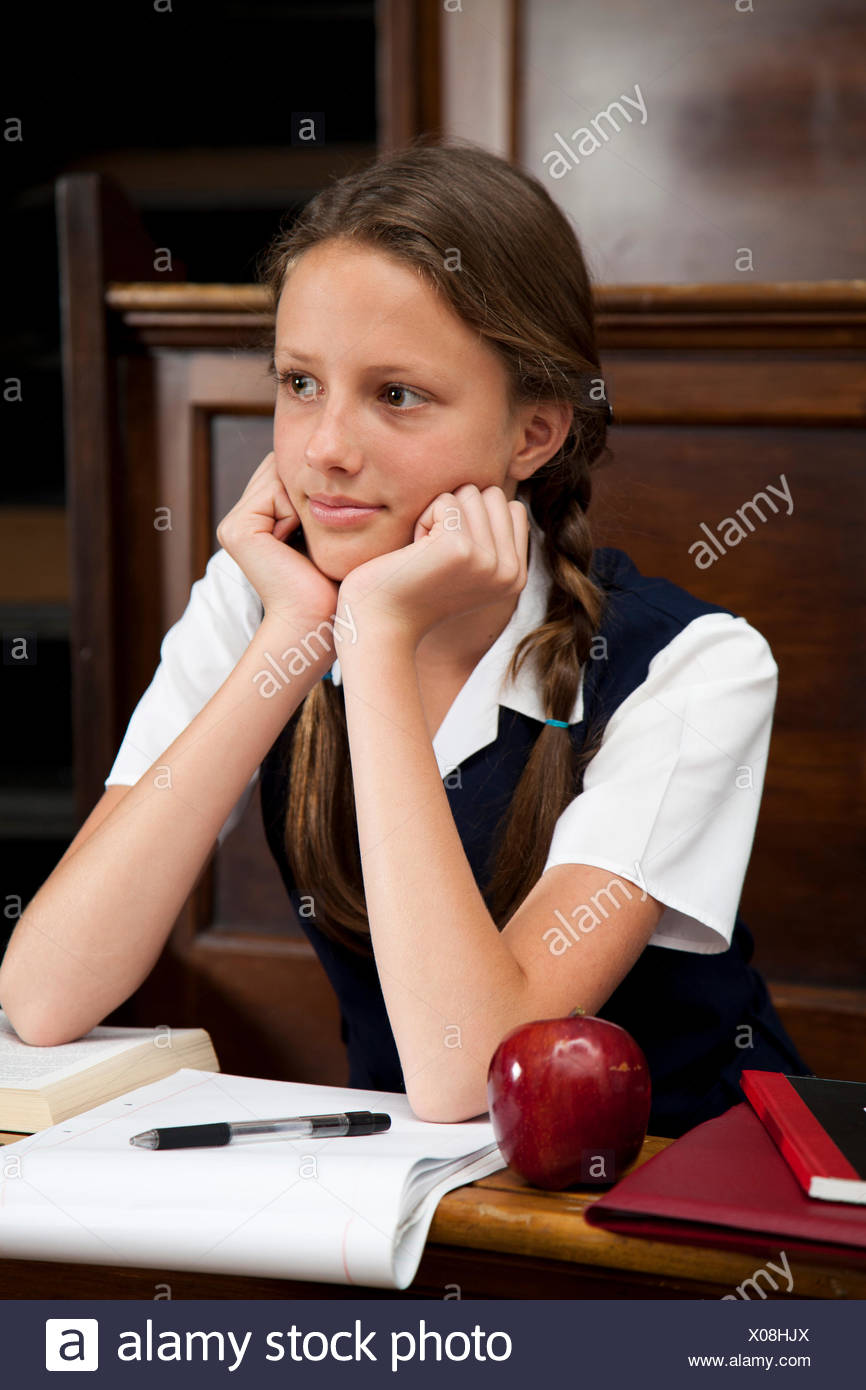 Teenage Student in Class - Stock Image