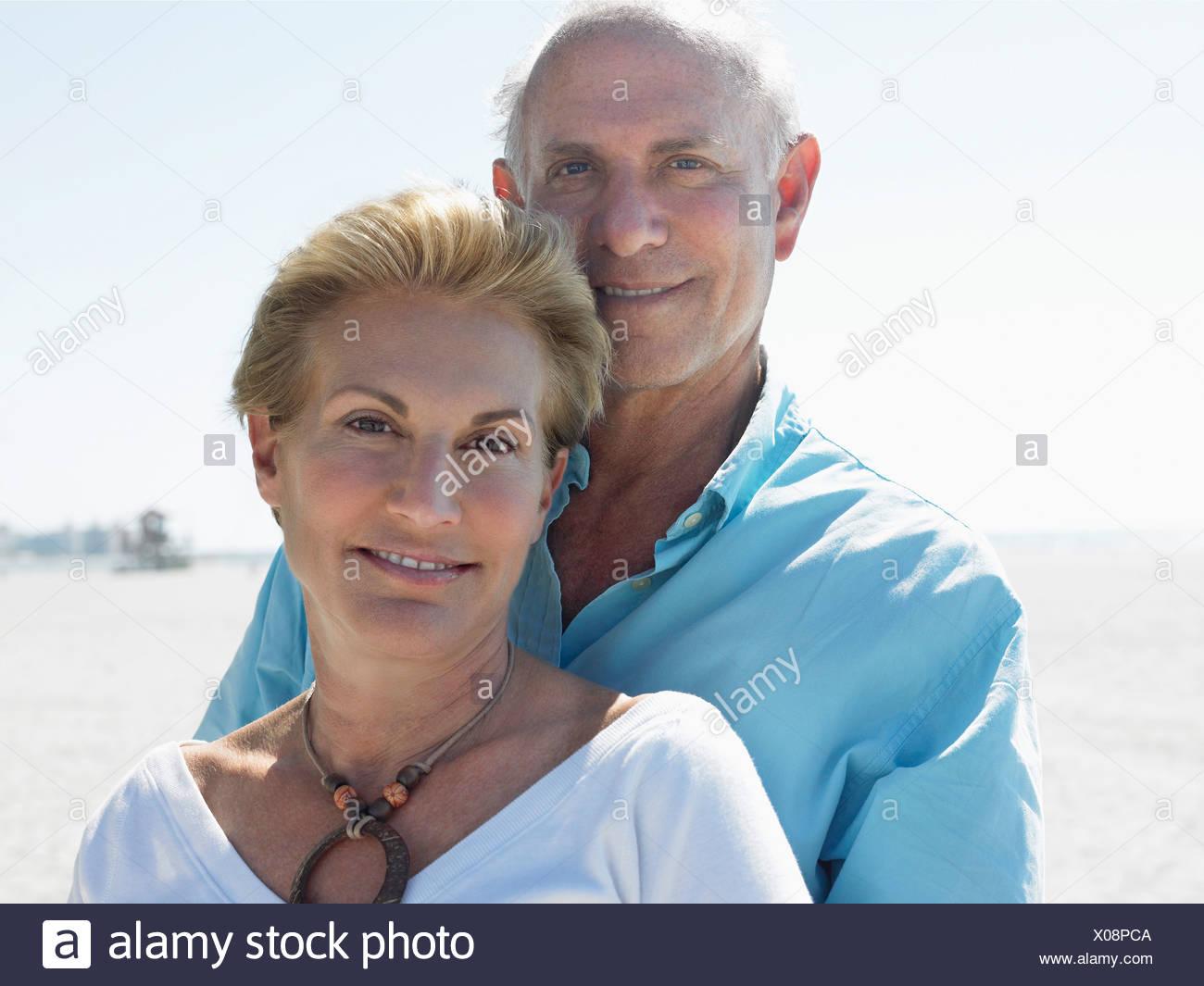 Senior couple on tropical  beach, close up - Stock Image