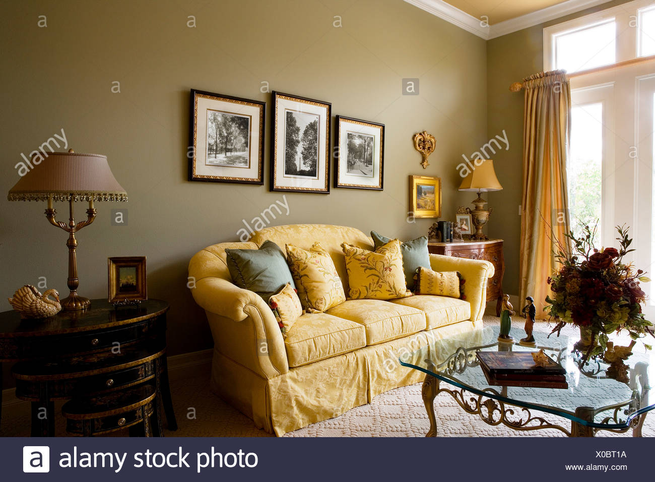Elegant Living Room With Gold Sofa   Stock Image