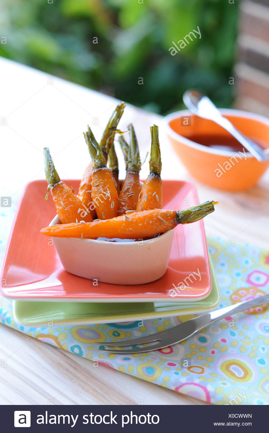 Caramelized Carrots with Salted Butter - Stock Image