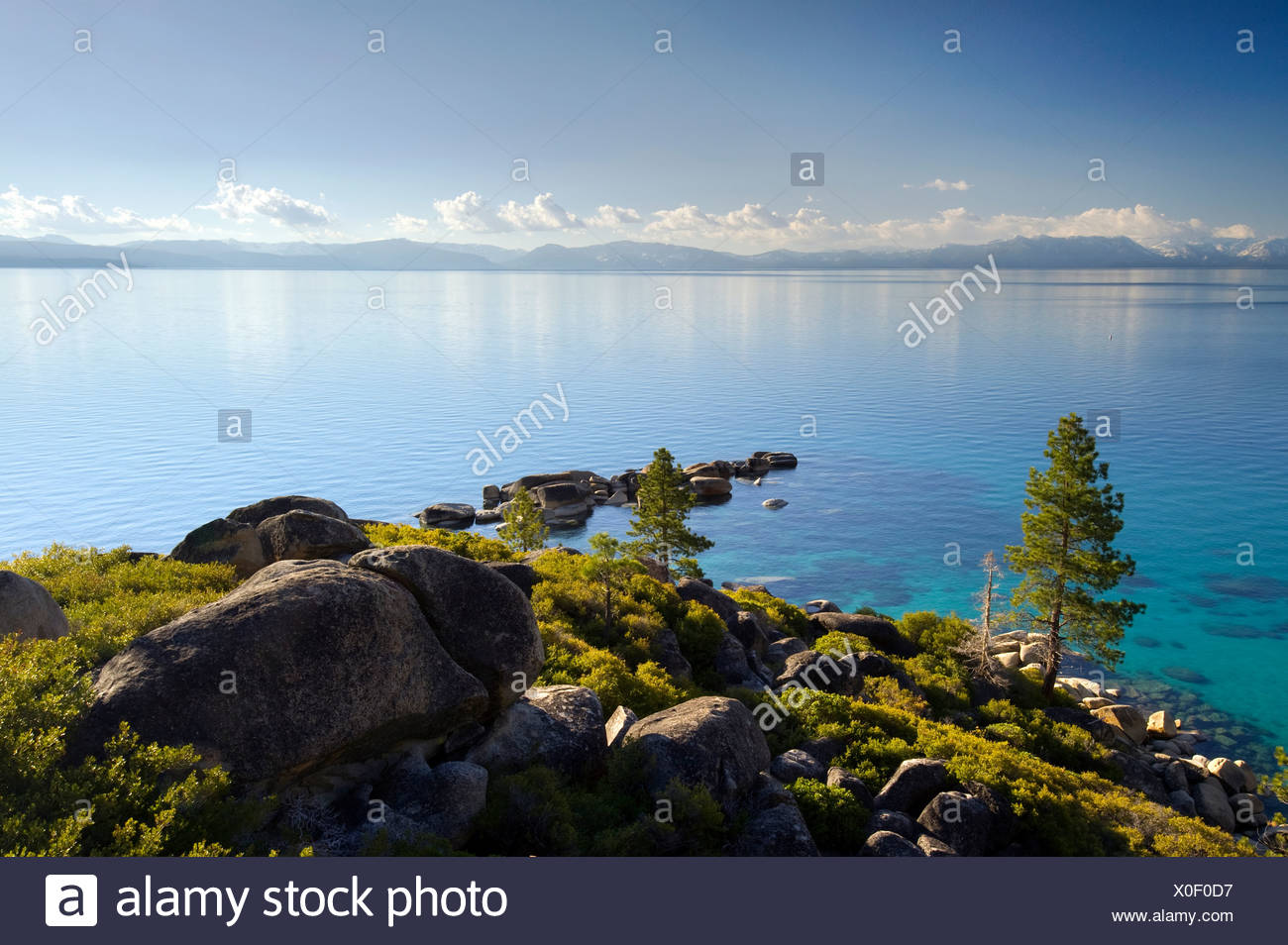 A view of Lake Tahoe from the classic Sand Harbor Overlook on the east shore of the lake, Nevada. - Stock Image
