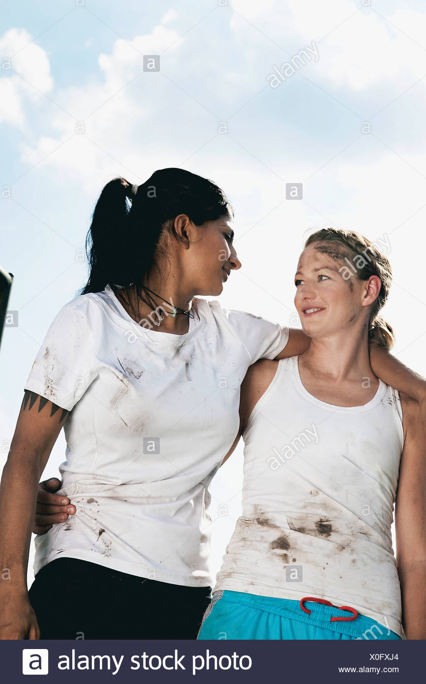 portrait of two female football players - Stock Image