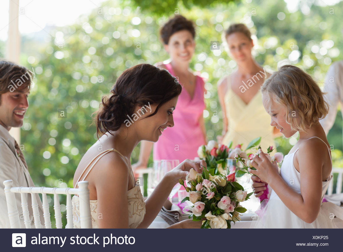 Family celebrating at wedding reception - Stock Image