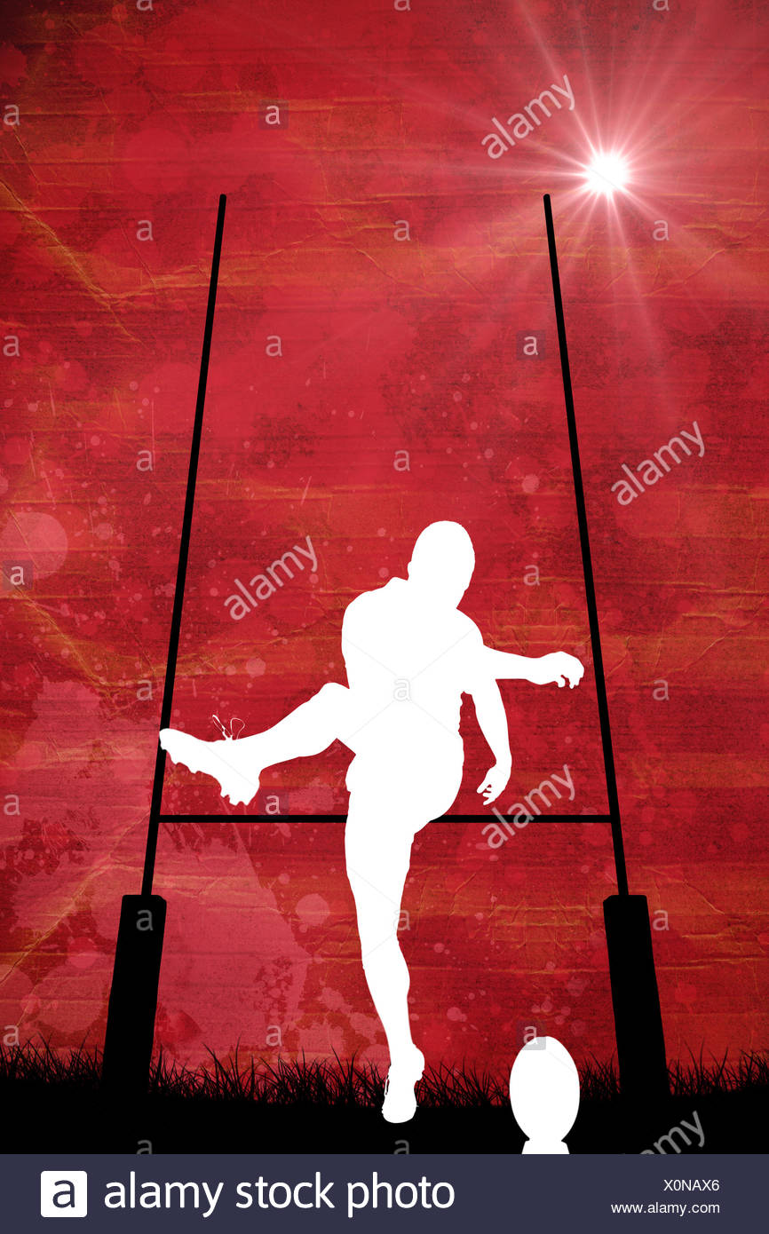 Composite image of silhouette of rugby player - Stock Image