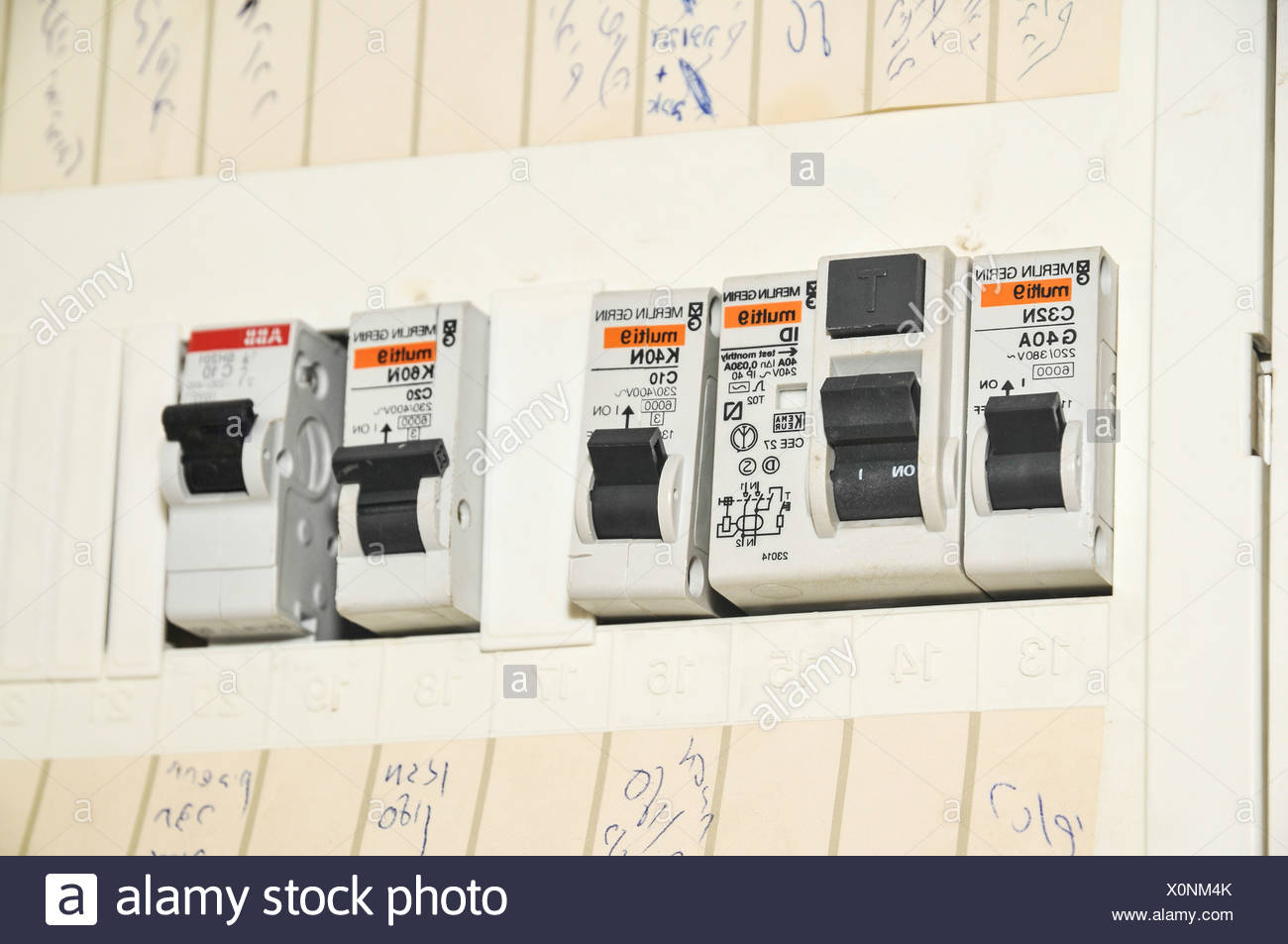 Domestic fuse box close up - Stock Image