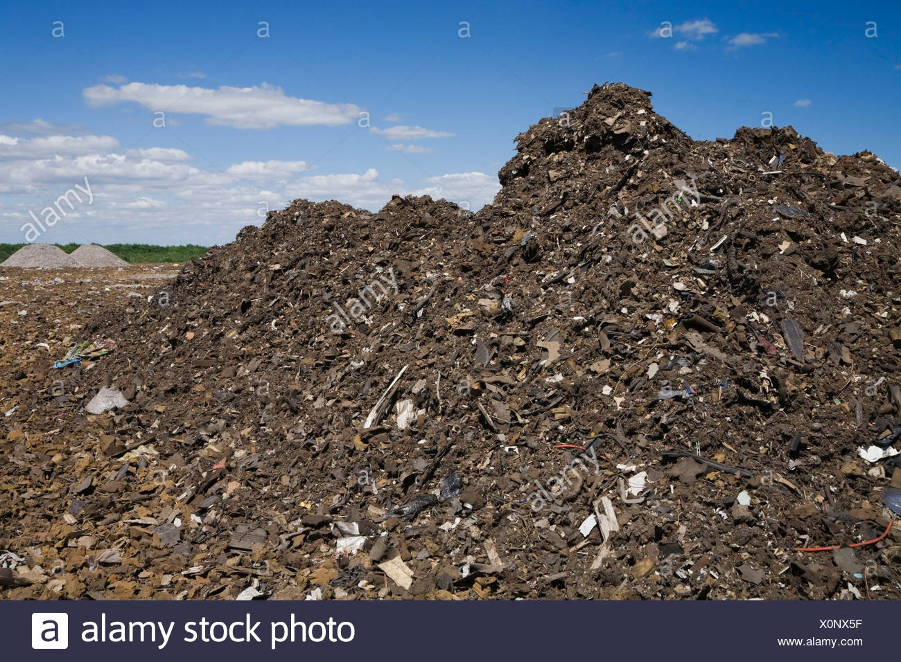 Pile of discarded automotive debris at a waste management site, Quebec, Canada - Stock Image