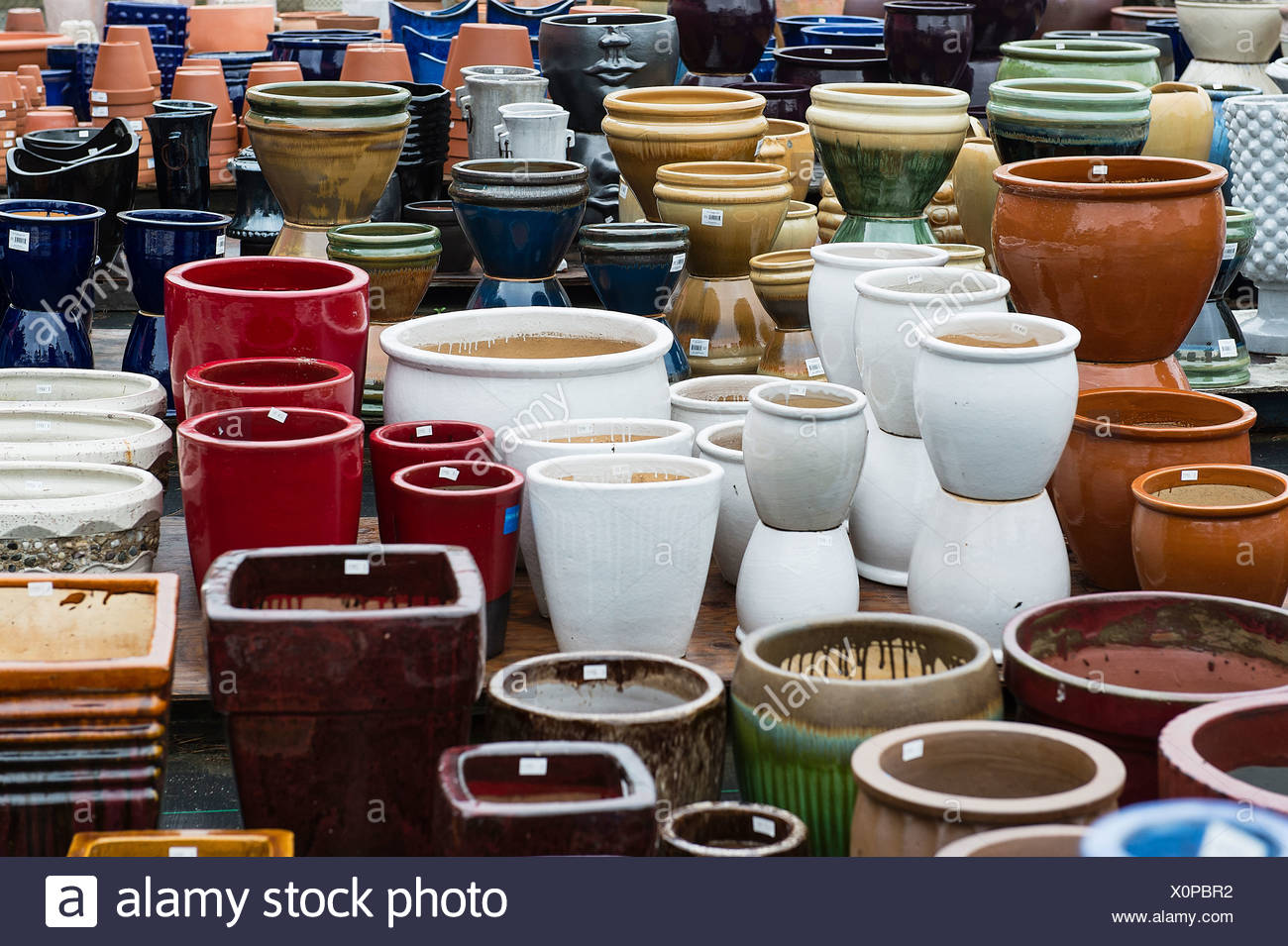 Selection Of Decorative Containers At A Garden Center.   Stock Image