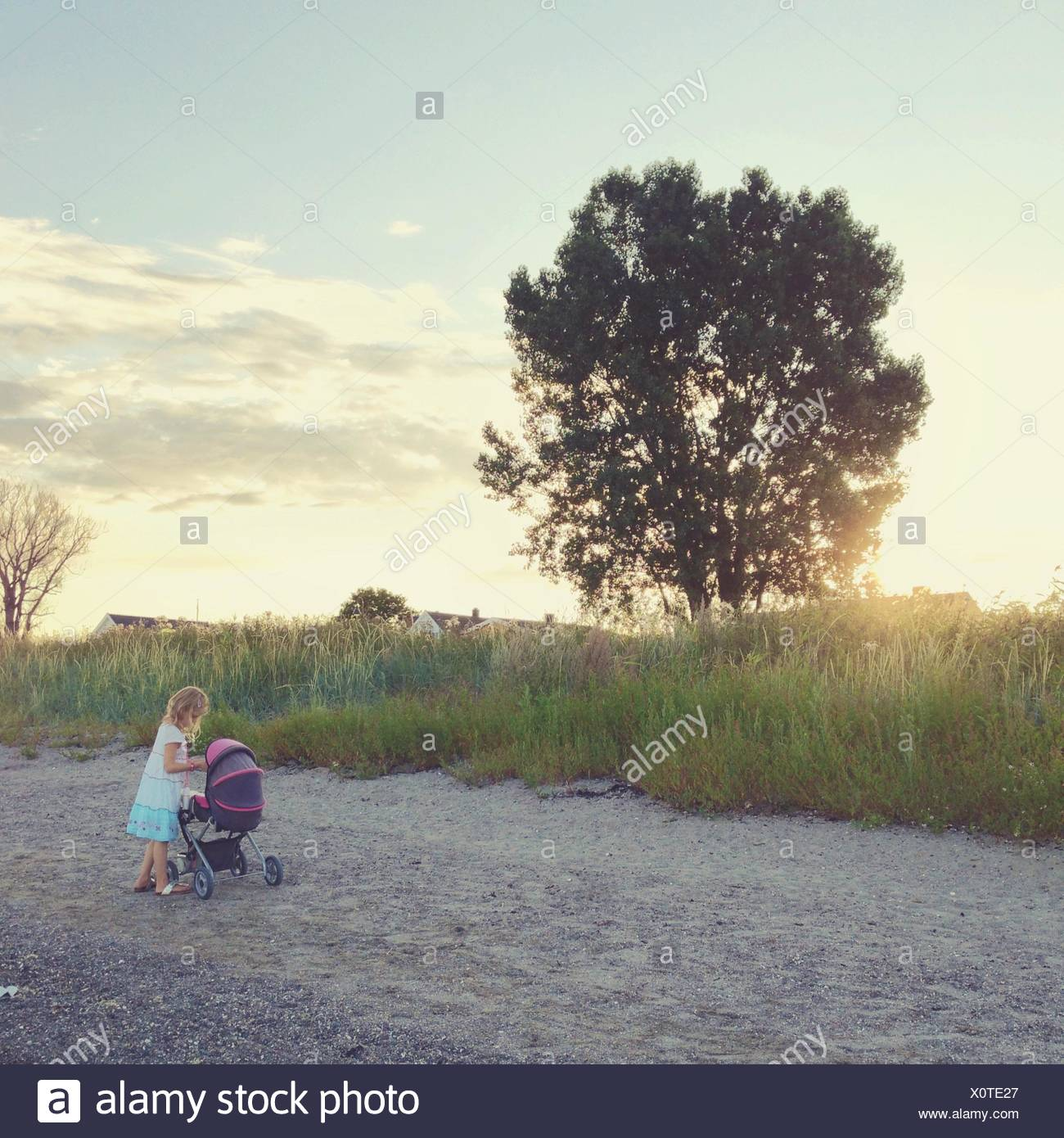 Norway, Girl (12-13) with stroller - Stock Image