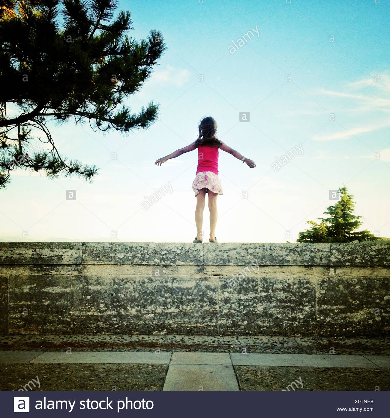 Rear view of girl standing on wall - Stock Image