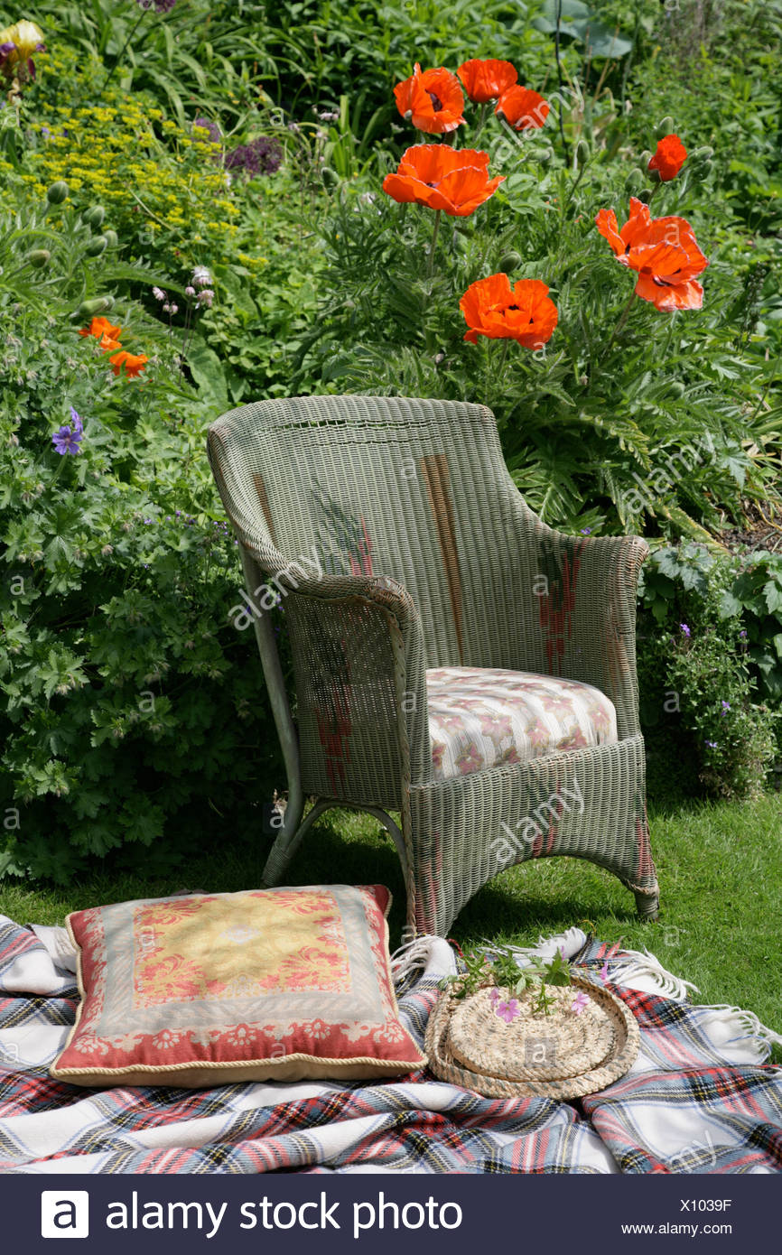 Cushion On Plaid Rug Beside Vintage Wicker Chair On Lawn In Front Of