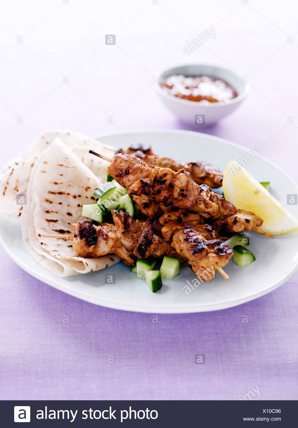 Plate of kebabs with meat - Stock Image