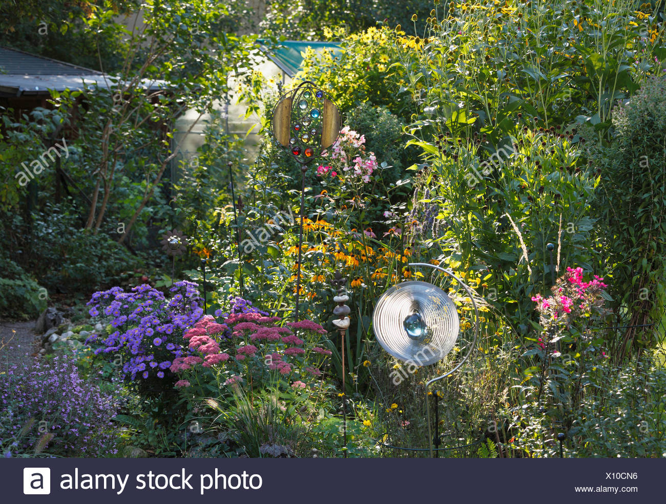 Perennial Plants In A Flower Bed Small Garden Geretsried Bavaria