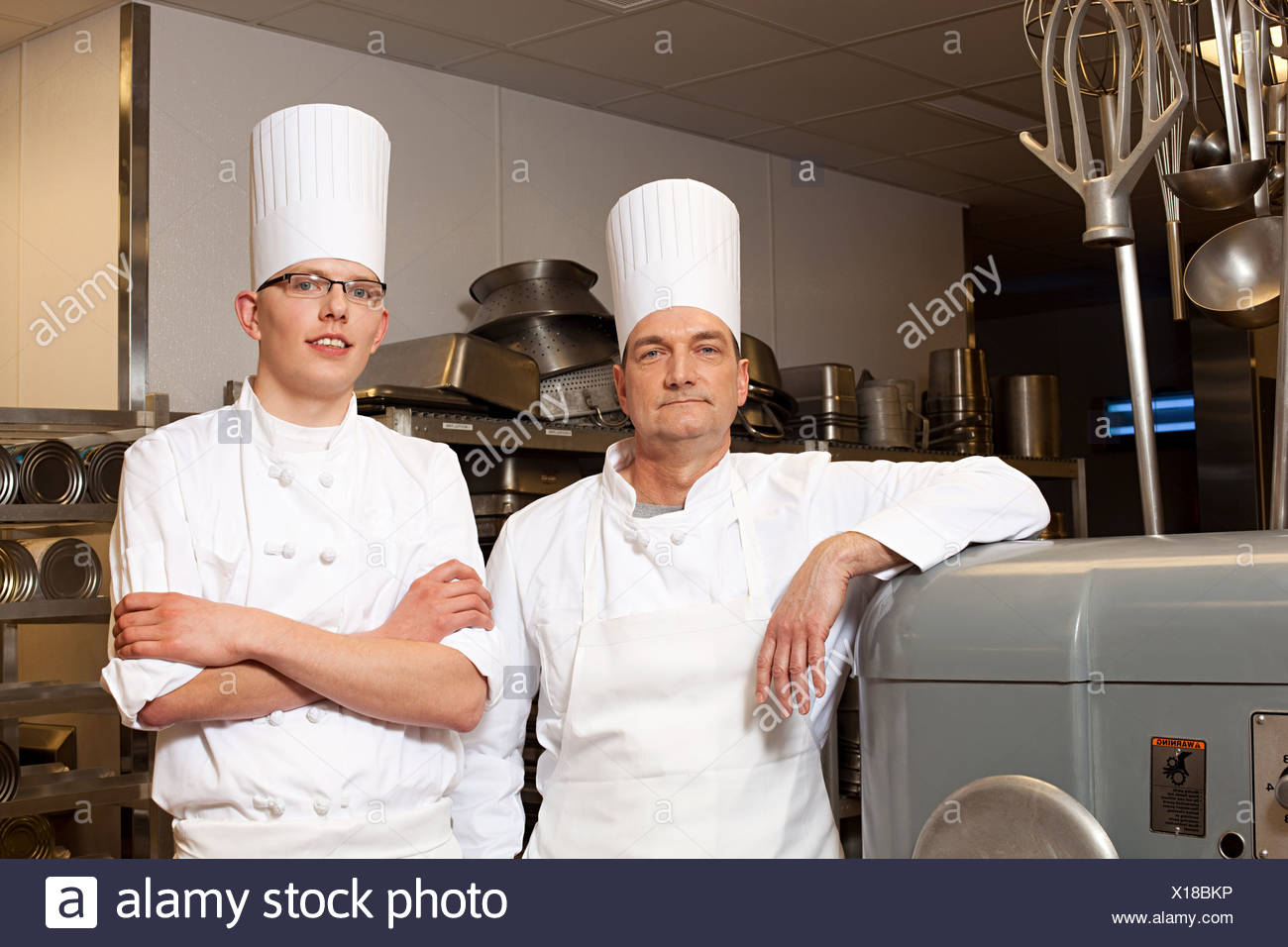 Chefs in commercial kitchen, portrait - Stock Image