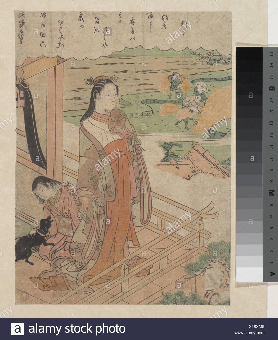百人一é¦- 天智天皇/Sympathy. Artist: Suzuki Harunobu (Japanese, 1725-1770); Period: Edo period (1615-1868); Date: ca. 1768; Culture: Japan; - Stock Image