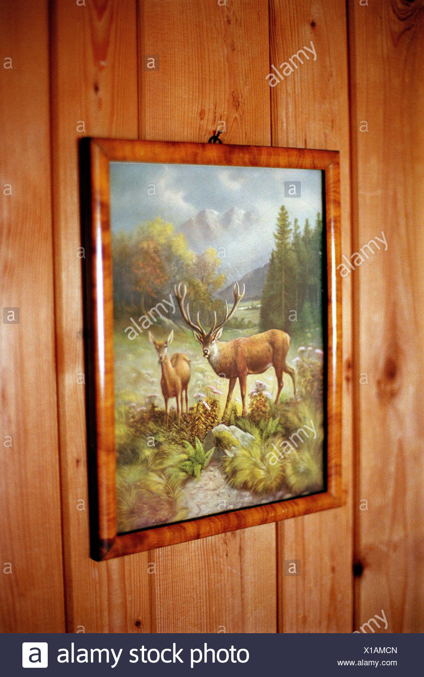 wooden wall, picture, animal motif, ski hut, hut, accomodation, wall ...