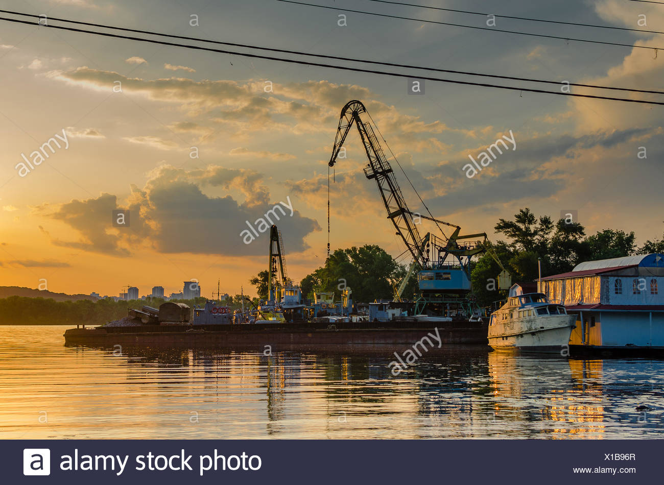 Ukraine, Kyiv, Old Dock and ship - Stock Image