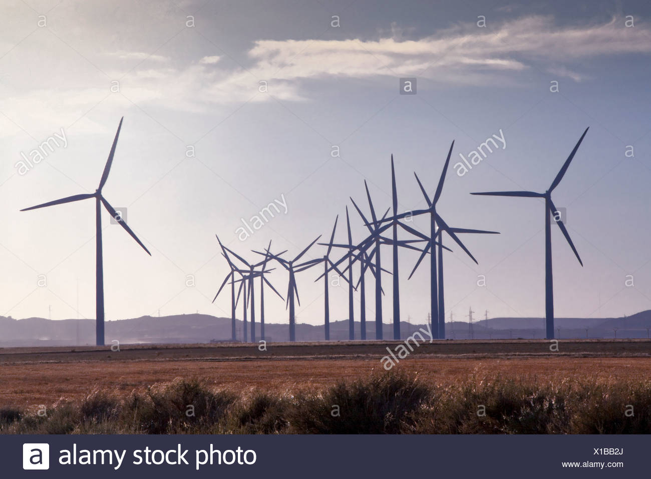 Spain, Europe, Aragon, wind farm, wind energy, wind turbine, energy, with Belchite, ecological - Stock Image