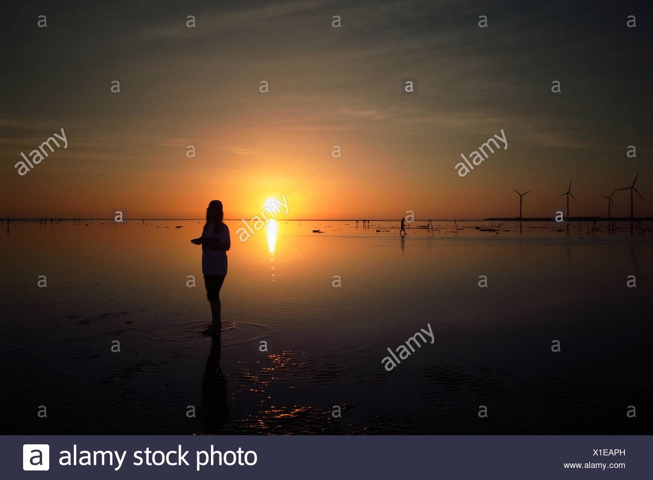 Silhouette Woman Standing On Beach At Sunset - Stock Image