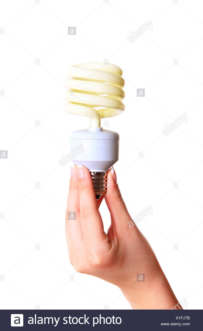 Energy saving light bulb - Stock Image