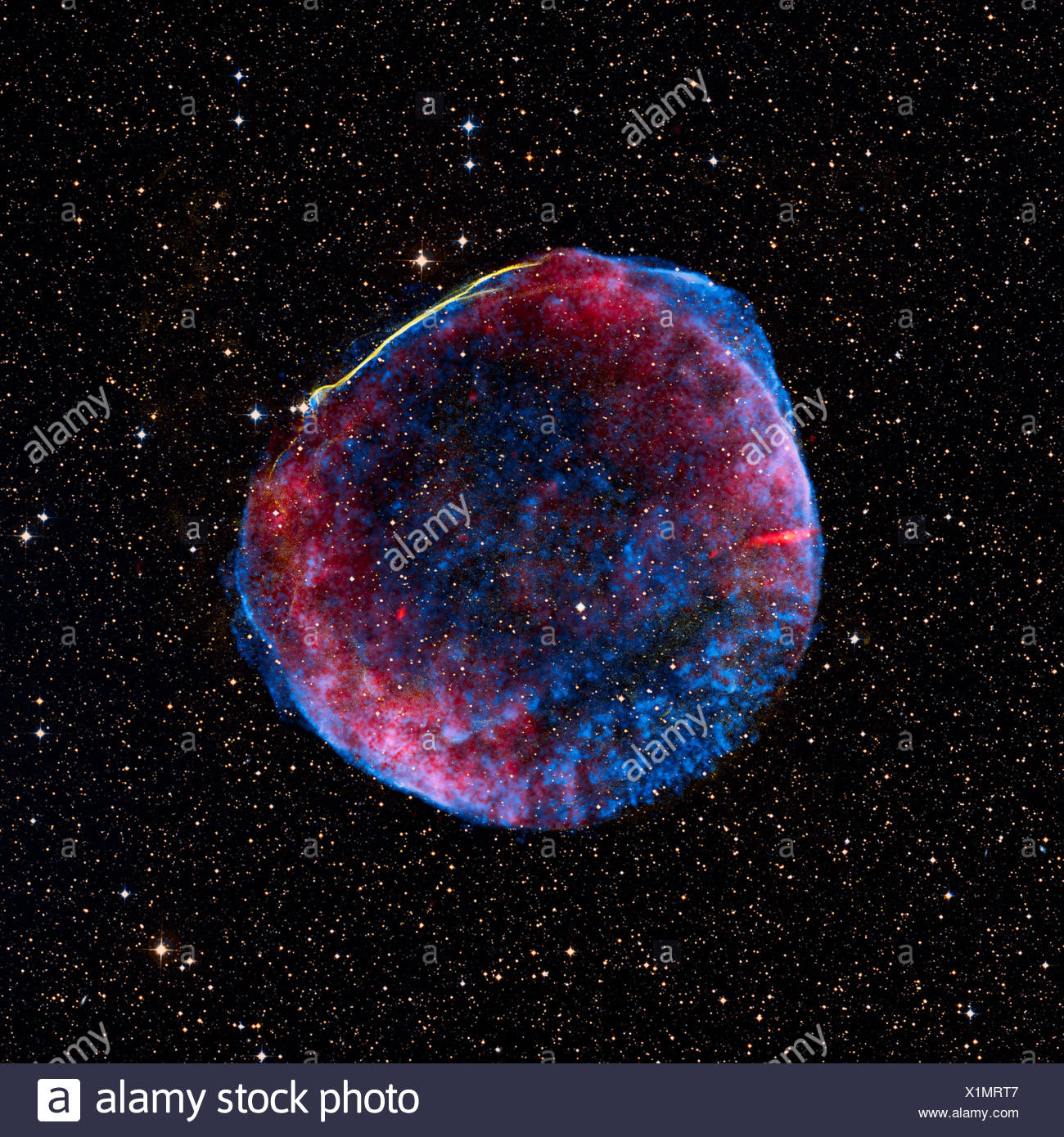 A composite image of the SN 1006 supernova remnant, which is located about  7000 light years from Earth