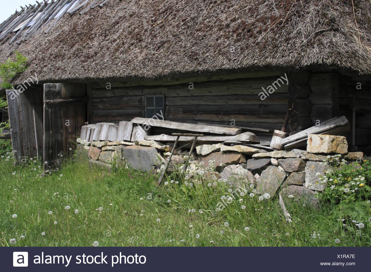 facade of an old historic farm, Estonia, Baltic Country, Europe - Stock Image