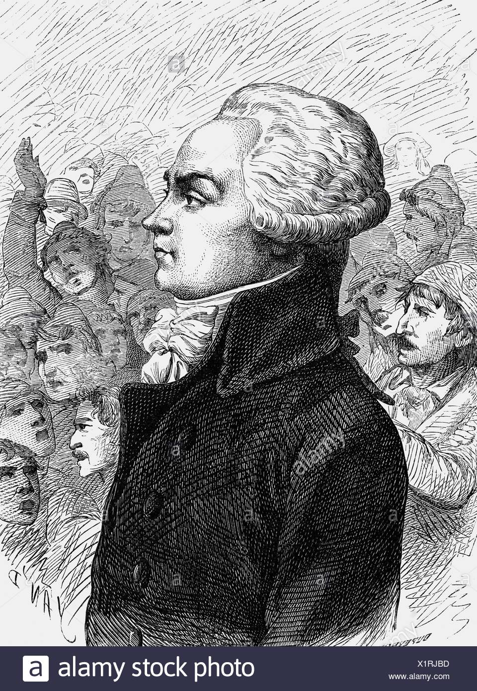 Robespierre, Maximilien de, 6.5.1758 - 28.7.1794, French politician, Member  of the Committee of Public Safety 27.7.1793 - 27.7.1794, portrait, ...