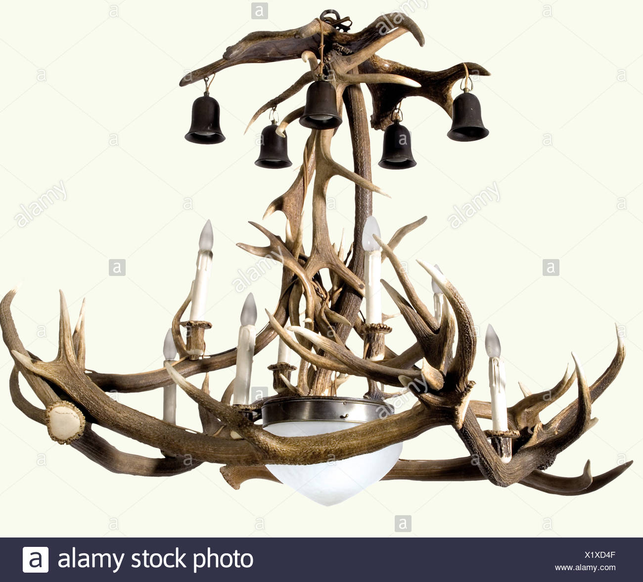 An antler chandelier a large chandelier assembled from antler an antler chandelier a large chandelier assembled from antler tines eight electrical standing lights five hanging lights and general illumination in aloadofball Image collections
