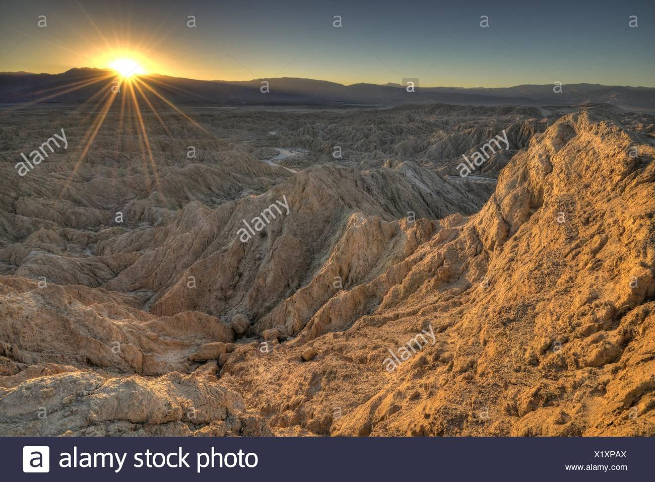 USA, California, Anza-Borrego Desert State Park, Landscape at sunset - Stock Image